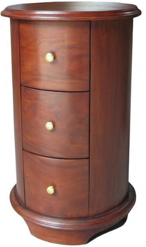 Round Three Drawer Bedside in Mahogany